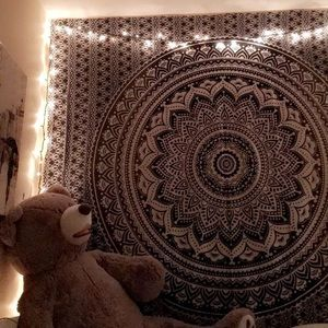 White and black wall tapestry